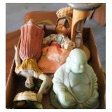 Small figurines: green Buddha - Girls with basket
