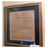 NRA framed print of 12 Articles of Amendment to