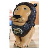 "Lion cookie jar, says ""Get your hands out of my"
