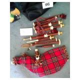 Bagpipes in nylon bag, unmarked, with reeds