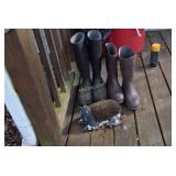 2 pair rubber boots, boot brush