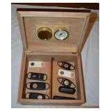 Cigar Humidor 10 1/2 x 8 1/2 w/ cutters