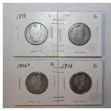 Four Silver Barber Quarter Coins