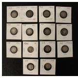 14 Silver Barber and Mercury Dime Coins