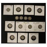 15 Silver Mercury Dime Coins