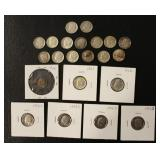 14 Silver Roosevelt  and 4 Uncirculated Dime Coins