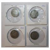 Four Liberty Head Nickel Coins