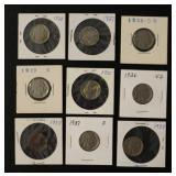 Nine Buffalo Nickel Coins