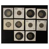Ten Buffalo Nickel Coins