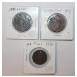 1864 Two Cent Piece,1838 & 1848 Large Cent Coins
