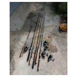 Six Spinning Fishing Rods and Five Spinning Reels