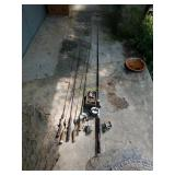 Five Bait Caster Reels and Six Fishing Rods