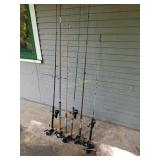 Six Spinning Fishing Rods and Eight Spinning Reels