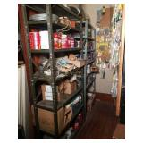 Metal Storage Shelves with Contents