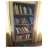 Vintage and Newer Books Plus Homemade Bookshelf