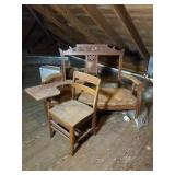 Vintage Wooden Bench and School Desk