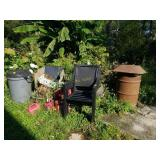 Outdoor Chairs, 6 Gas Cans, Tobacco Lathe, & More