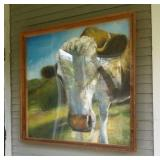 Framed Painted Cow