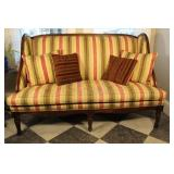 Hickory Chair Wing Back Sofa With Accent Pillows