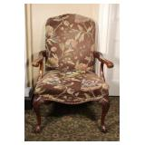 Century Wood Framed Fabric Accent Chair