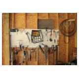 Pegboard Wall of Tools + Sledge Hammer, Polisher