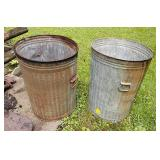 Two Galvanized Trash Cans