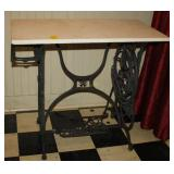 Vintage Sewing Machine Base with Marble Top