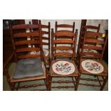 Ladder Back Wooden Chairs with Rush Seating