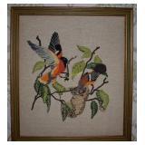 Framed Bird Needlework