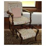 Vintage Chair with Matching Footstool