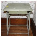 Vintage Wrought Iron Table with Painted Wood Top