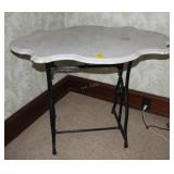 Antique Sewing Machine Base Table with Marble Top