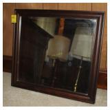 Antique Beveled Mirror in Wooden Frame