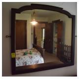 Antique Wooden Framed Bureau Mirror