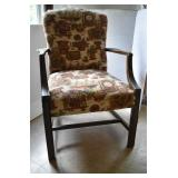 Vintage Upholstered Chair with Wooden Arms