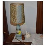 Antique Lamp, Pottery, Doilies, and More