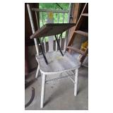 Vintage Chair and Wooden Shelf with Metal Brackets