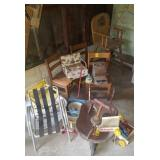 Assorted Vintage Toys and Chairs