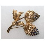 14K Yellow Gold Thistle Brooch