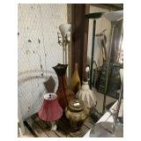 lot of vases and lamps