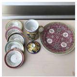 decorative plates and tea warmer