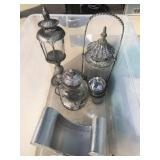 Tote with silver colored lamps in it