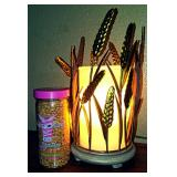 Pink Zebra Simmer Light W/ Wheat shade and Wheat Fields Sprinkles