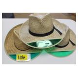 3 Straw hats with sun visors