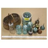 Blue Ball Jars, Vintage oil Cans etc