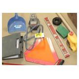 Level, wire, bit sharpener, soldering gun, misc