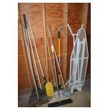 Brooms, mops, rake, ironing board