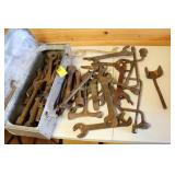 Assortment of vintage wrenches/tools in toolbox