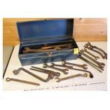 Misc tools & vintage tools in blue toolbox