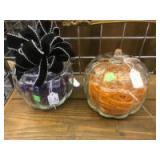 2- Pumpkin shaped Glass Candy Jars
